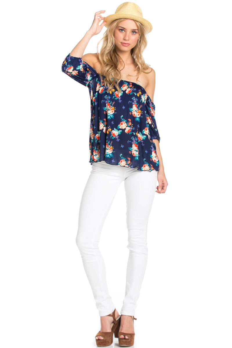 Rosey Print Off the Shoulder Navy Blouse - Blouses - My Yuccie - 2
