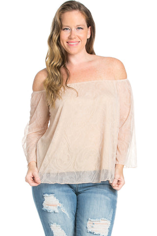 Plus Size Taupe Lace Off Shoulder Blouse - Blouses - My Yuccie - 1