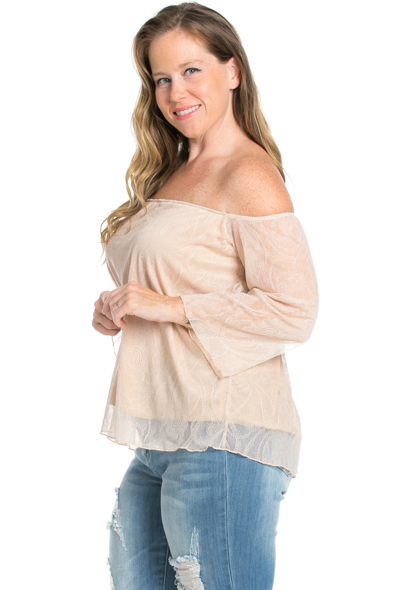 Plus Size Taupe Lace Off Shoulder Blouse - Blouses - My Yuccie - 2