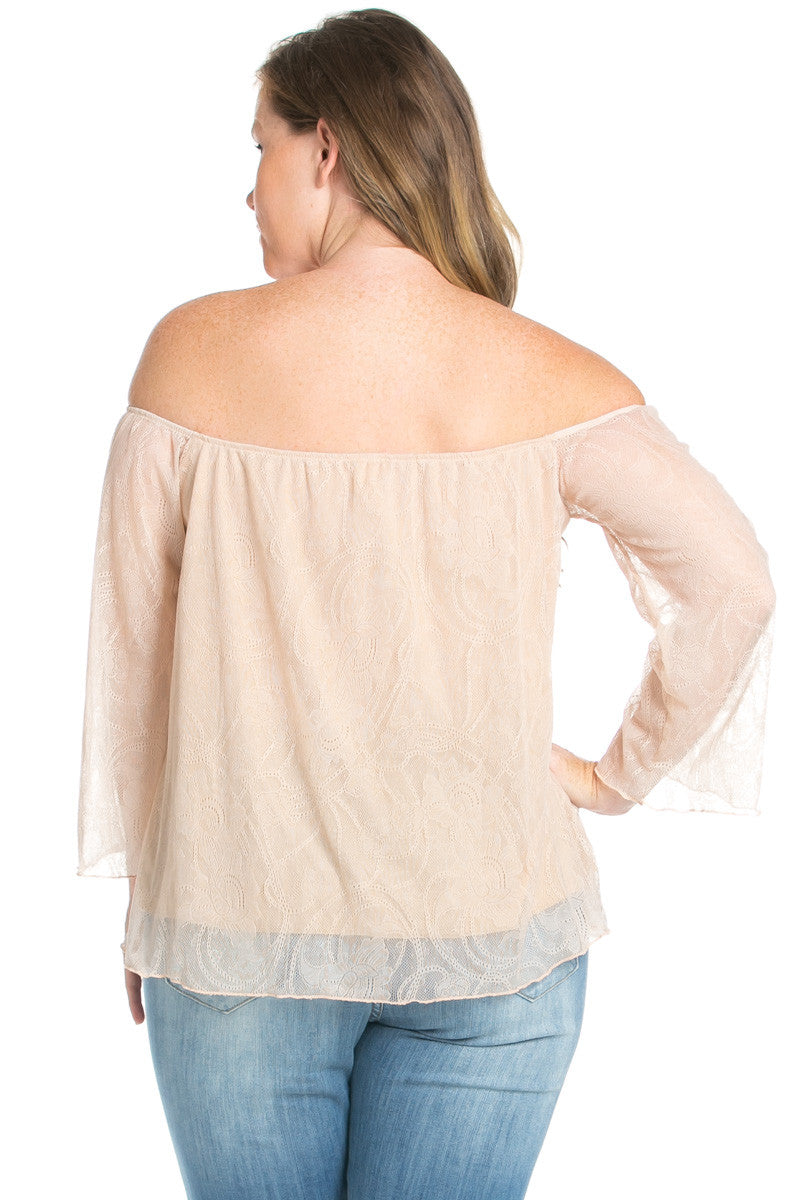 Plus Size Taupe Lace Off Shoulder Blouse - Blouses - My Yuccie - 3