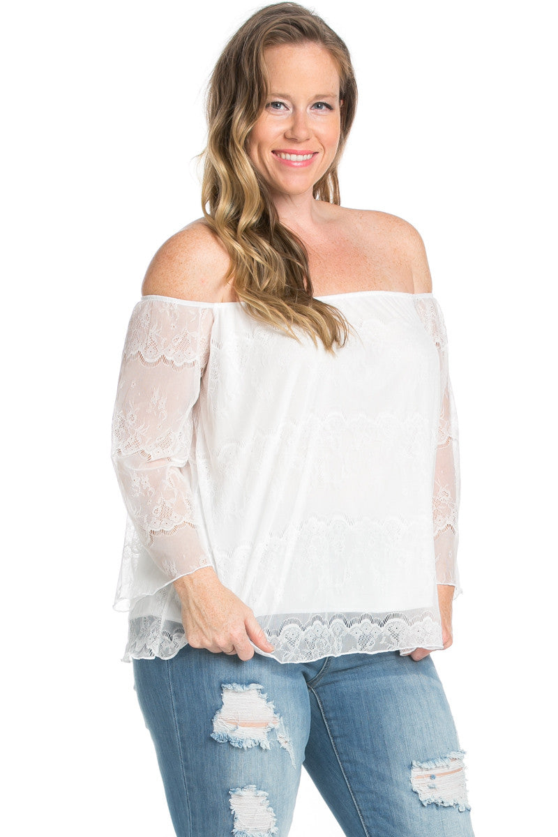 Plus Size Ivory Lace Off Shoulder Blouse - Blouses - My Yuccie - 1