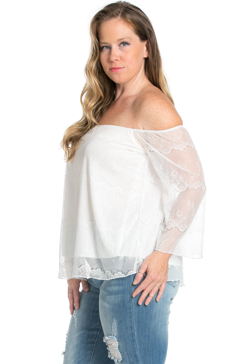 Plus Size Ivory Lace Off Shoulder Blouse - Blouses - My Yuccie - 3