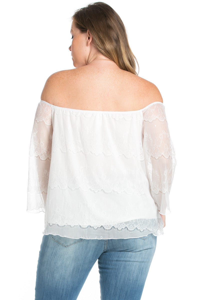 Plus Size Ivory Lace Off Shoulder Blouse - Blouses - My Yuccie - 4