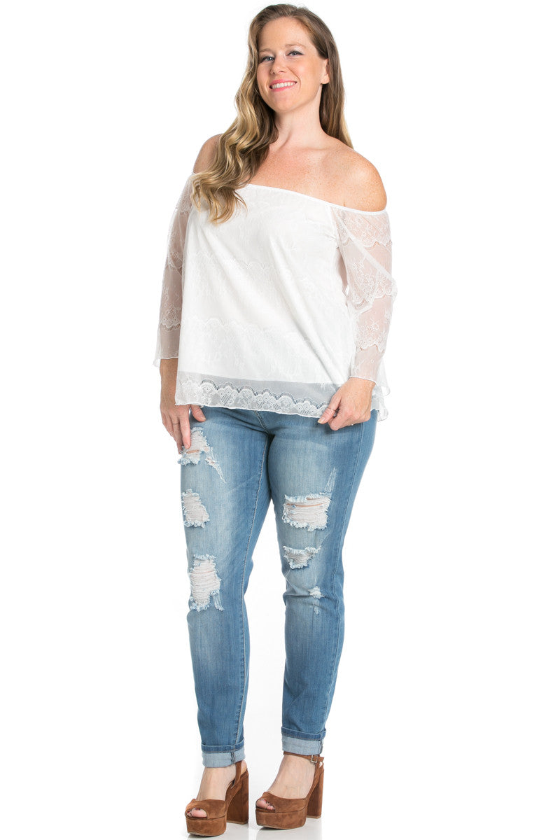 Plus Size Ivory Lace Off Shoulder Blouse - Blouses - My Yuccie - 2