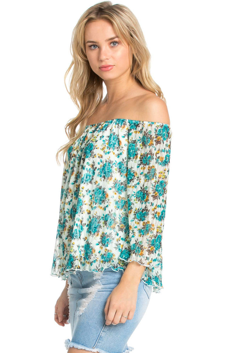 Off the Shoulder Aqua Floral Lace Blouse - Blouses - My Yuccie - 1