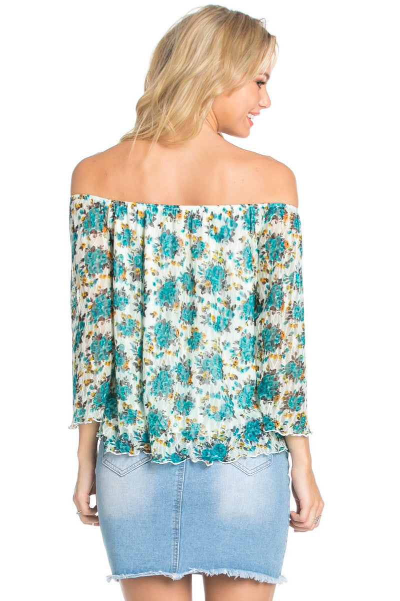 Off the Shoulder Aqua Floral Lace Blouse - Blouses - My Yuccie - 4