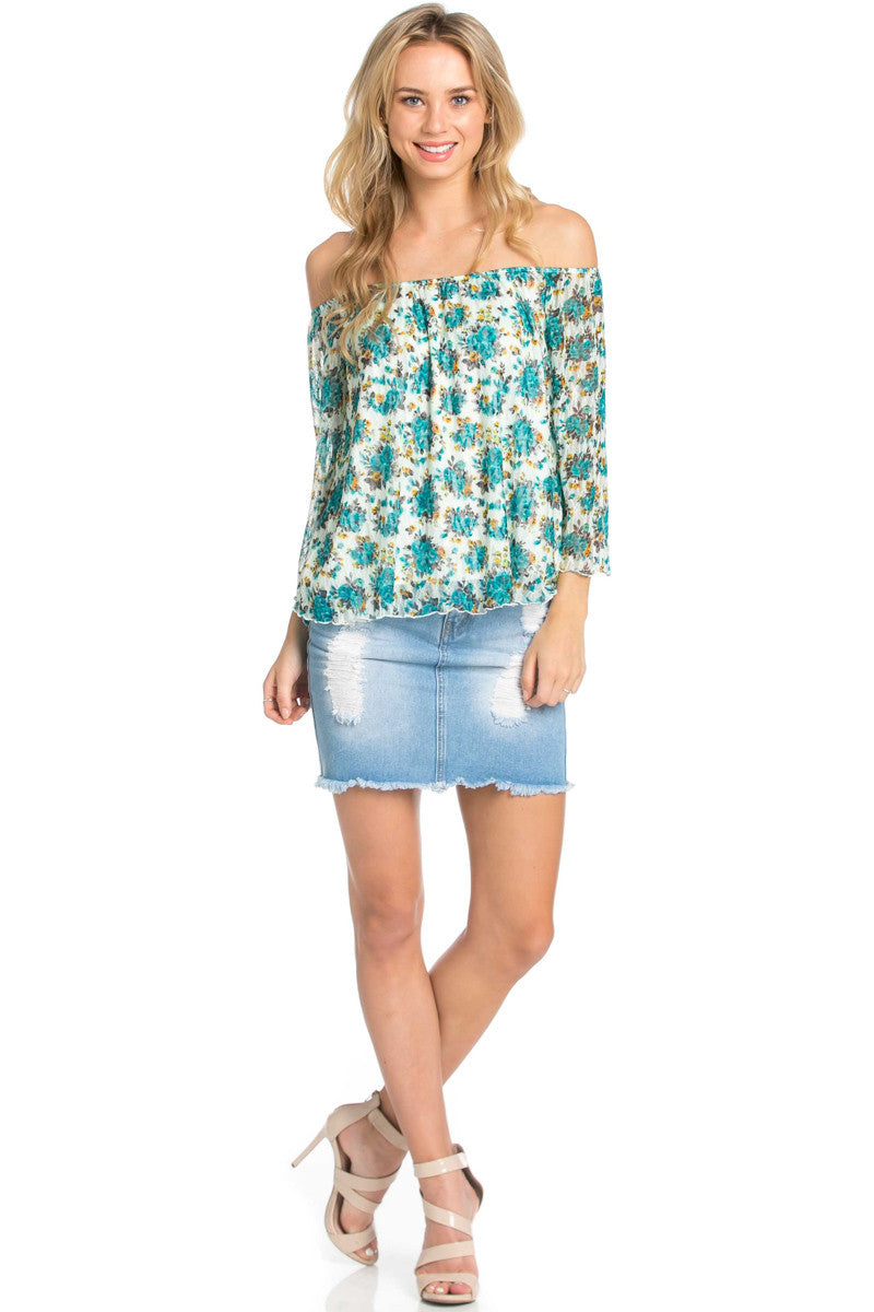 Off the Shoulder Aqua Floral Lace Blouse - Blouses - My Yuccie - 2