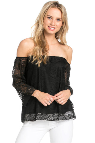 Casual Off Shoulder Black Lace Top - Blouses - My Yuccie - 1