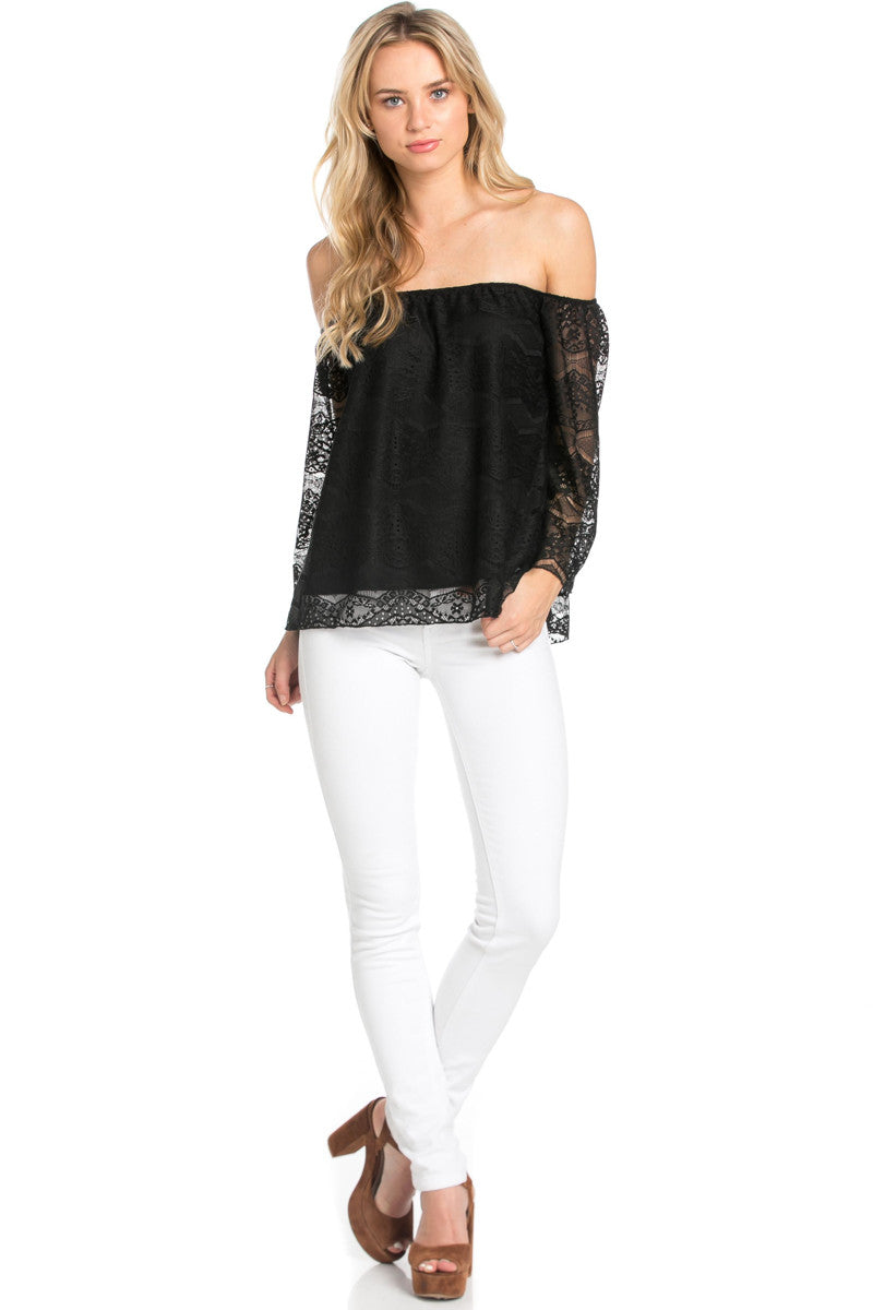 Casual Off Shoulder Black Lace Top - Blouses - My Yuccie - 4