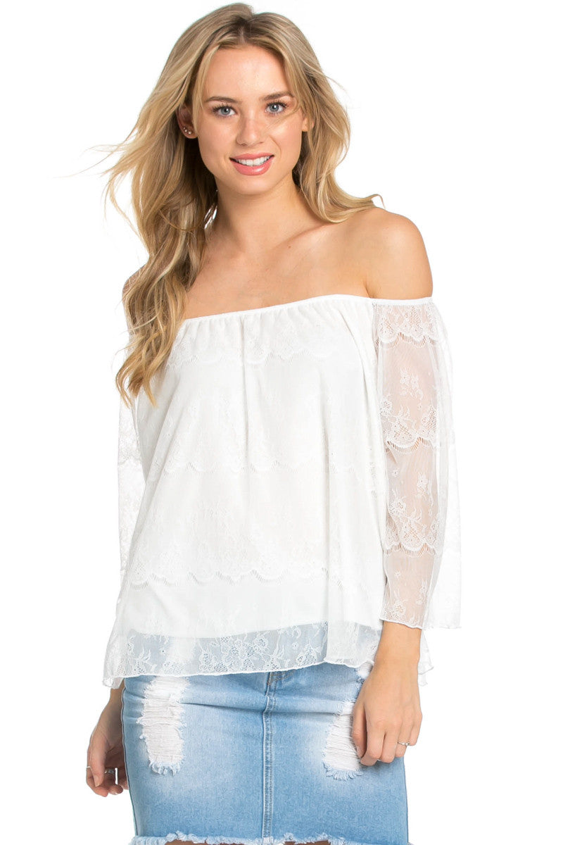 Casual Off Shoulder Ivory Lace Top - Blouses - My Yuccie - 1
