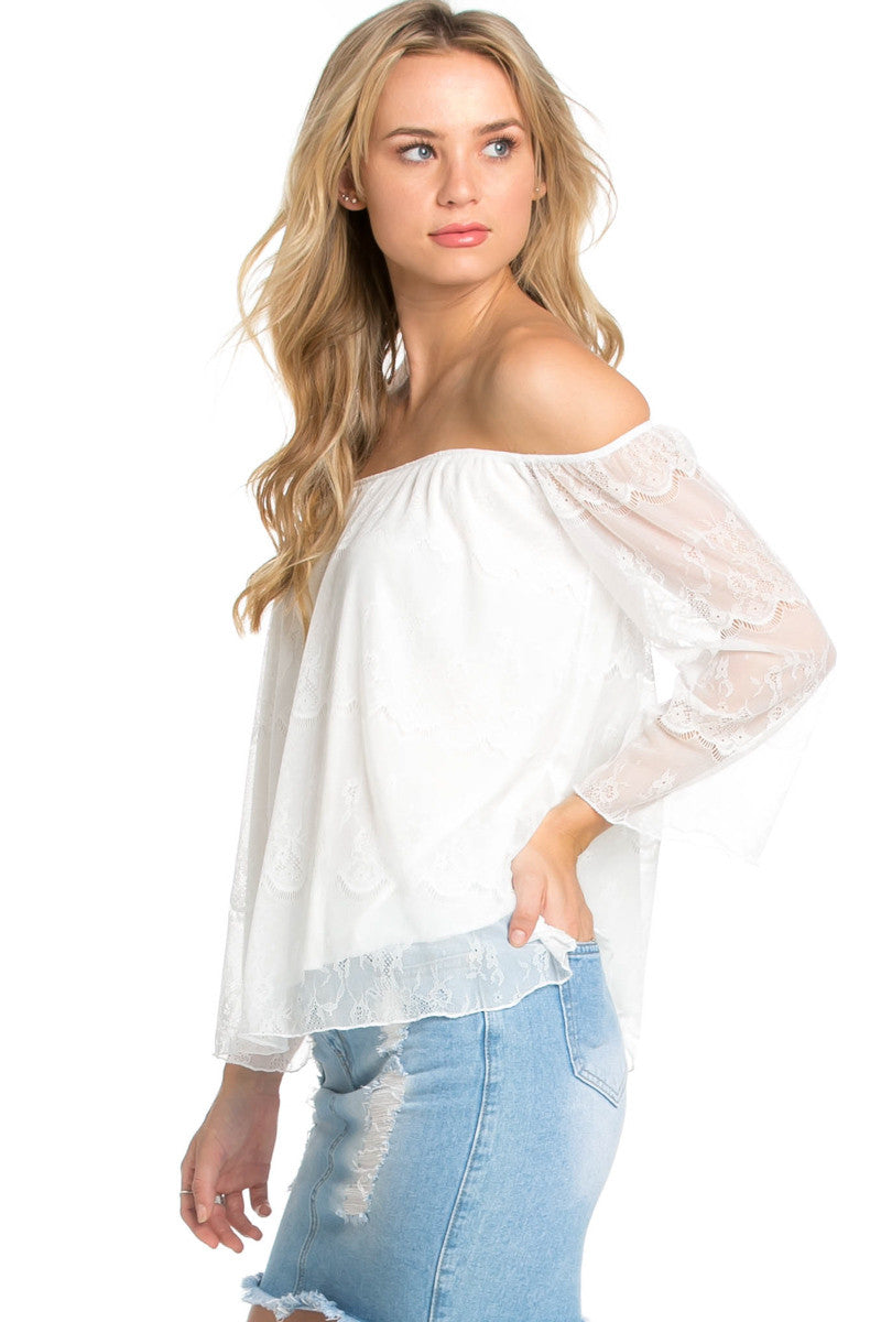 Casual Off Shoulder Ivory Lace Top - Blouses - My Yuccie - 3