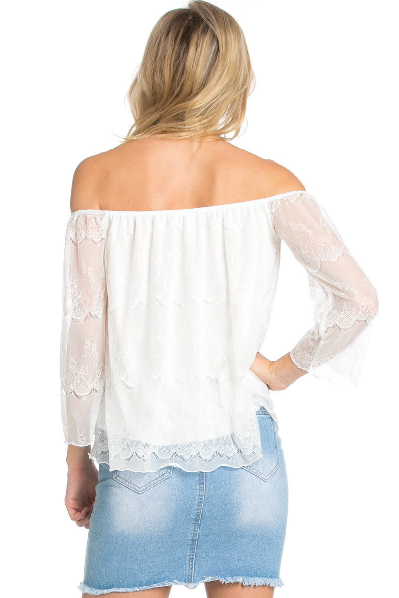 Casual Off Shoulder Ivory Lace Top - Blouses - My Yuccie - 4