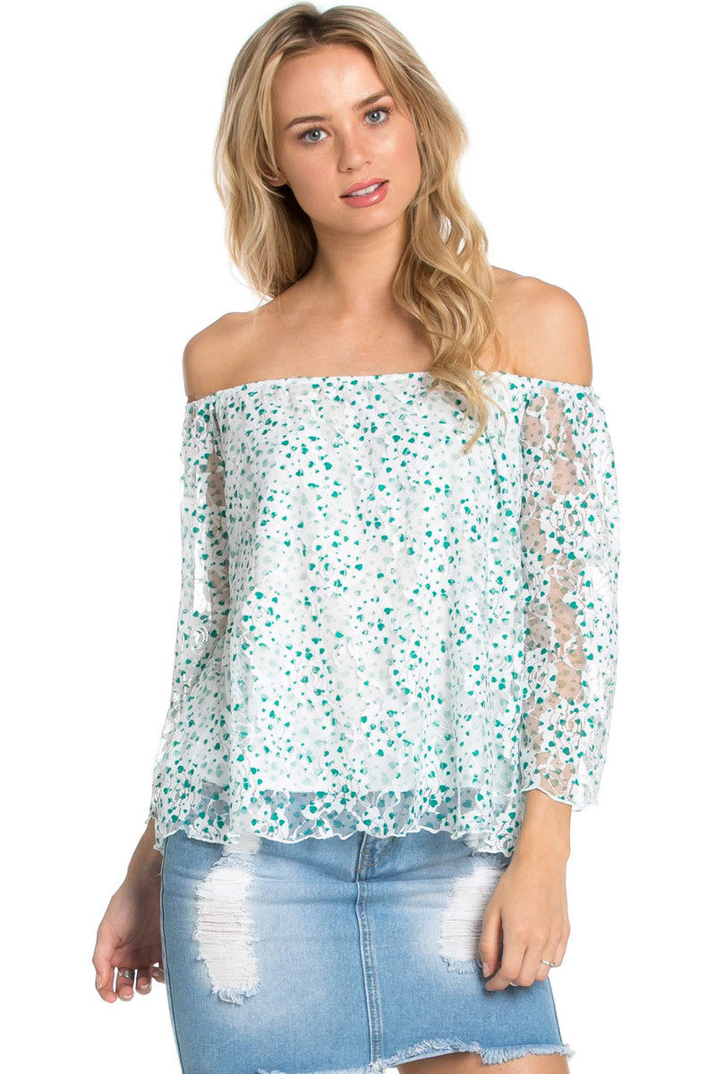 Off the Shoulder Mint Floral Lace Blouse - Blouses - My Yuccie - 1