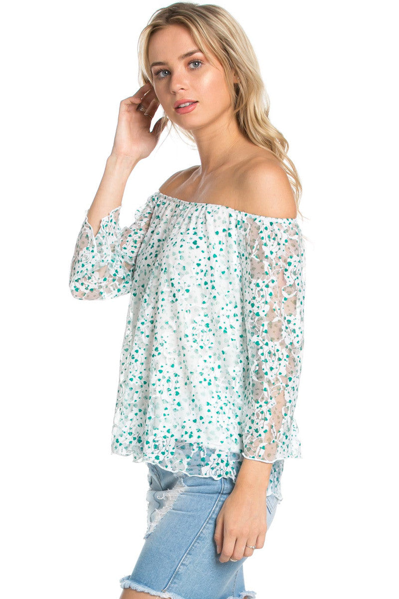Off the Shoulder Mint Floral Lace Blouse - Blouses - My Yuccie - 3