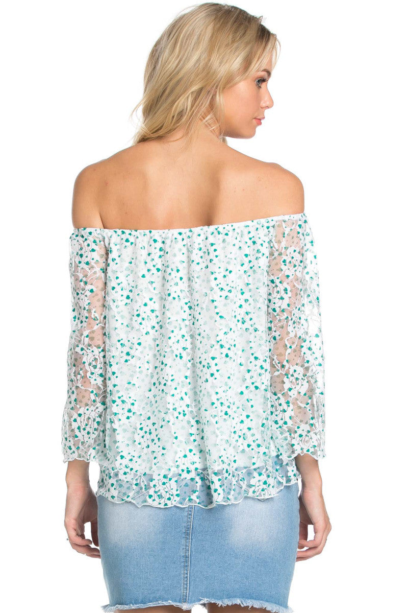 Off the Shoulder Mint Floral Lace Blouse - Blouses - My Yuccie - 4