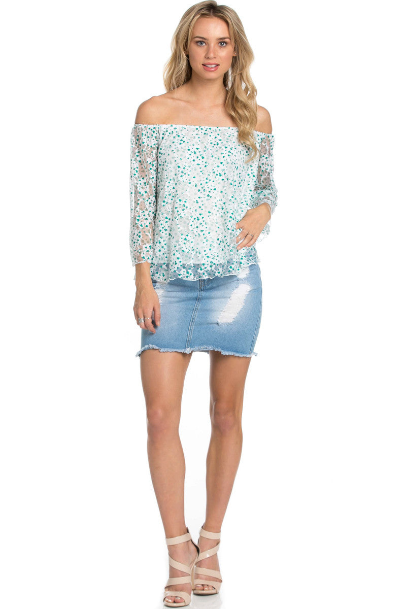 Off the Shoulder Mint Floral Lace Blouse - Blouses - My Yuccie - 2
