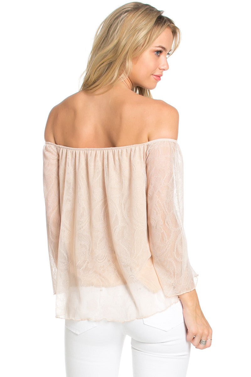 Casual Off Shoulder Taupe Lace Top - Blouses - My Yuccie - 4