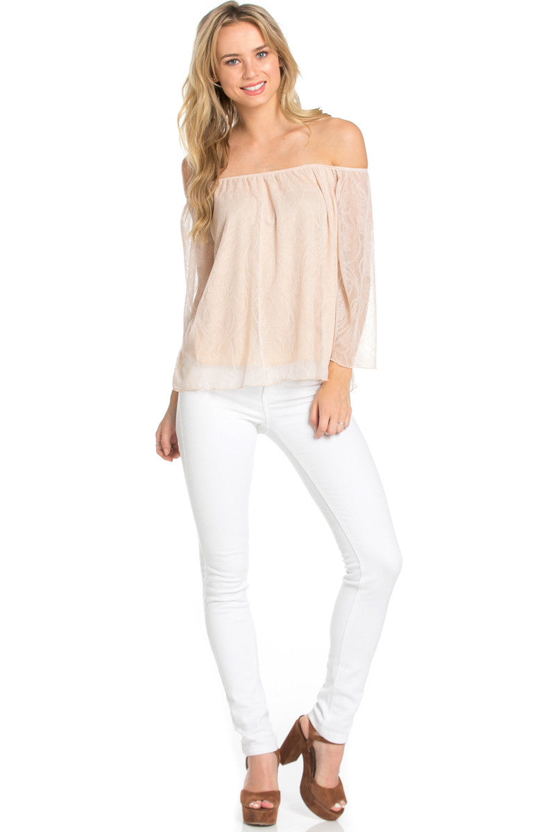 Casual Off Shoulder Taupe Lace Top - Blouses - My Yuccie - 2
