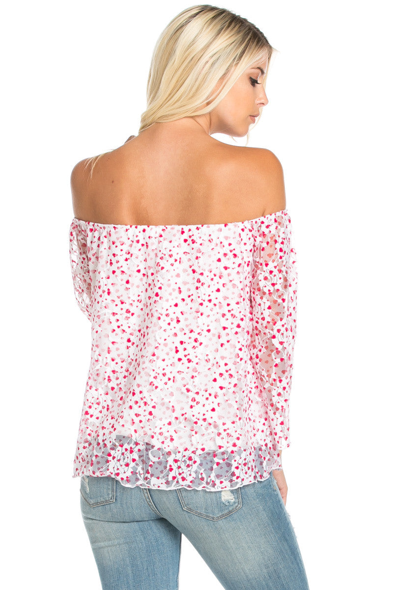Off the Shoulder Pink Floral Lace Blouse Tops - Blouses - My Yuccie - 4