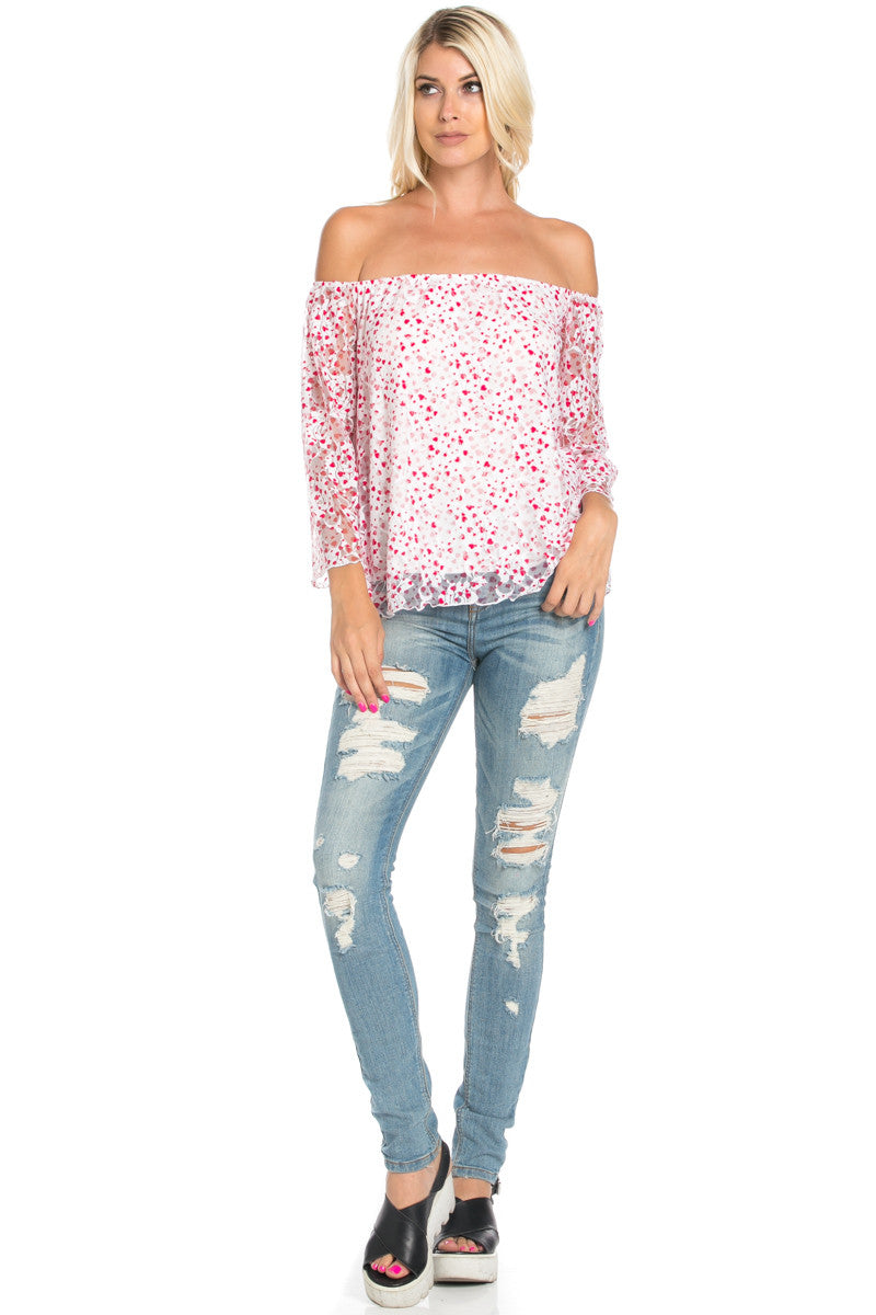 Off the Shoulder Pink Floral Lace Blouse Tops - Blouses - My Yuccie - 2