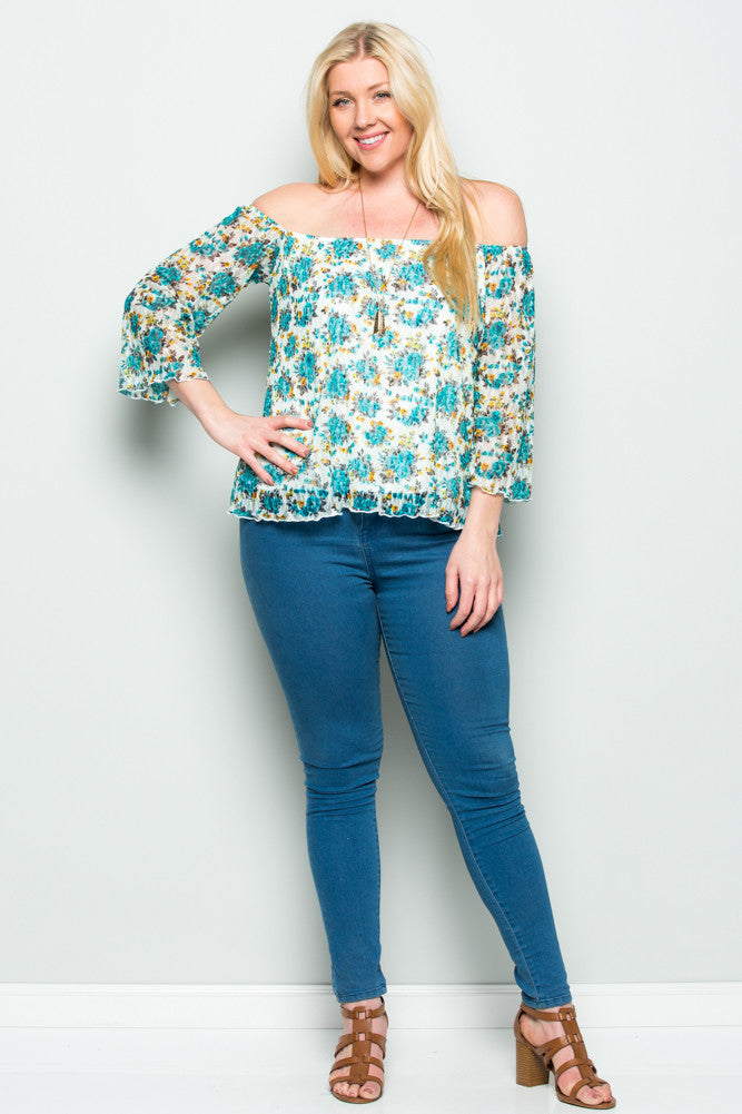 Plus Size Aqua Floral Off Shoulder Lace Blouse