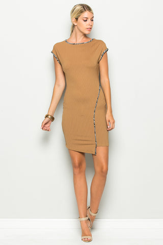 Camel Asymmetrical Hem Bodycon Dress - Dresses - My Yuccie - 1