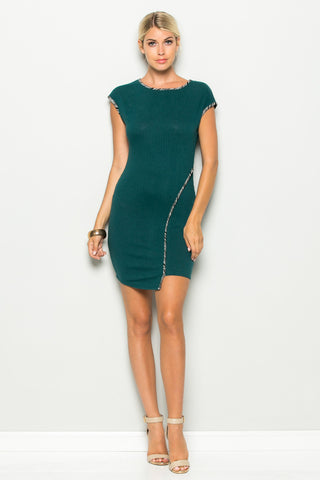 Forest Green Asymmetrical Hem Bodycon Dress - Dresses - My Yuccie - 1