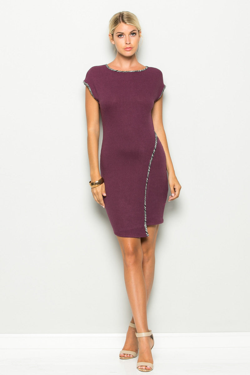 Plum Asymmetrical Hem Bodycon Dress - Dresses - My Yuccie - 6