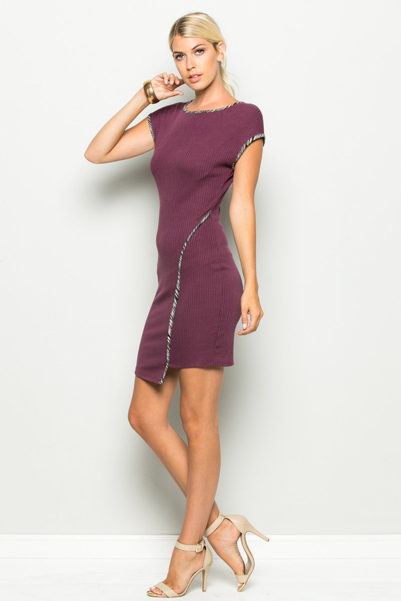 Plum Asymmetrical Hem Bodycon Dress - Dresses - My Yuccie - 1