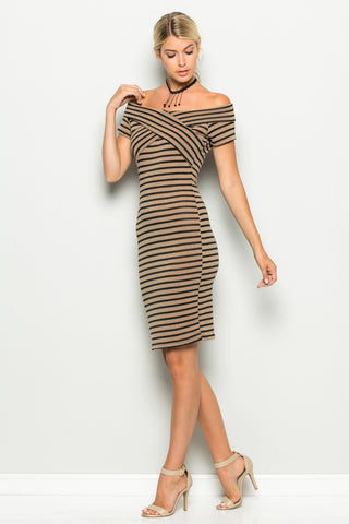 Khaki Striped Wrap Front Off Shoulder Dress - Dresses - My Yuccie - 1