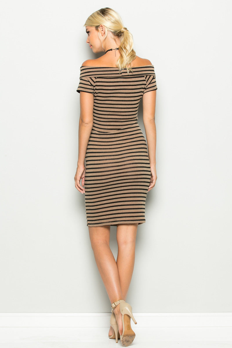 Khaki Striped Wrap Front Off Shoulder Dress - Dresses - My Yuccie - 8