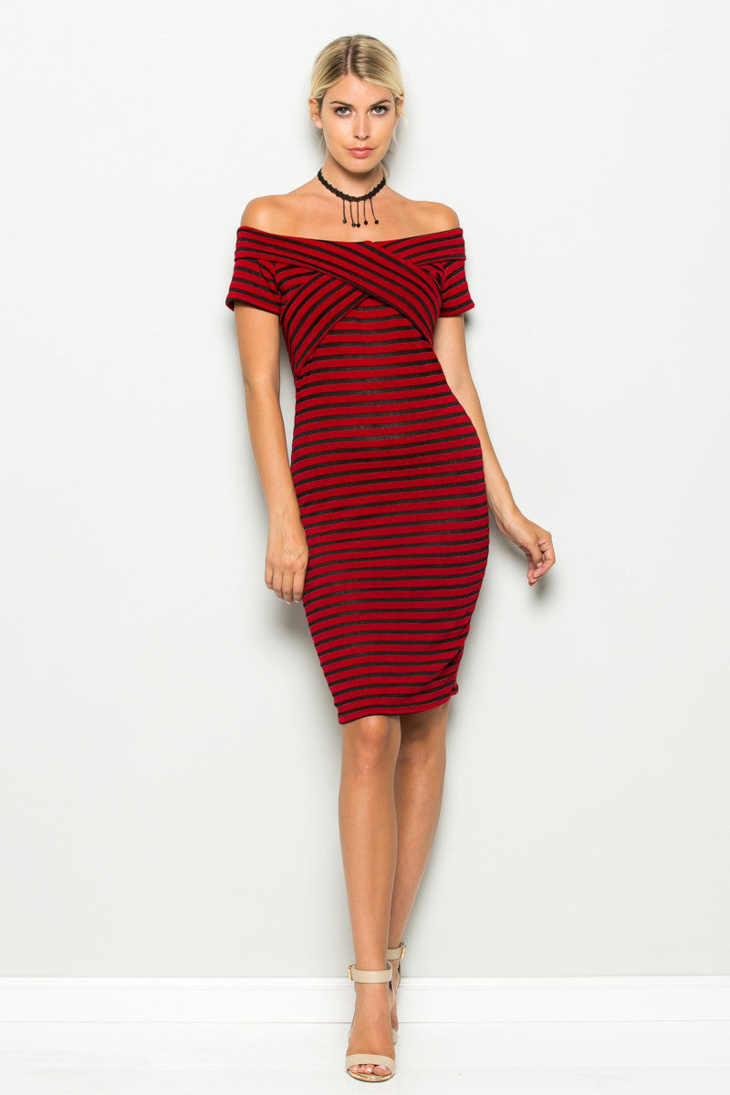 Red Striped Wrap Front Off Shoulder Dress - Dresses - My Yuccie - 2