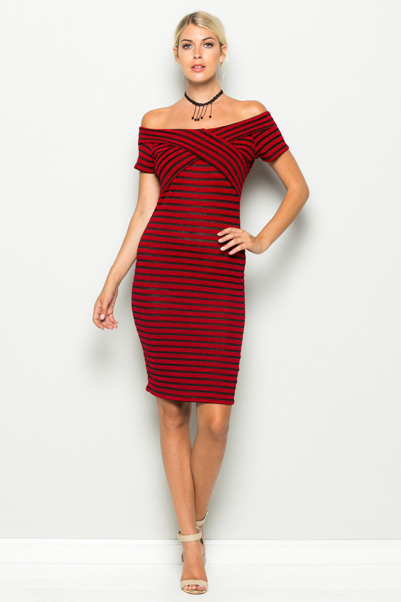 Red Striped Wrap Front Off Shoulder Dress - Dresses - My Yuccie - 1