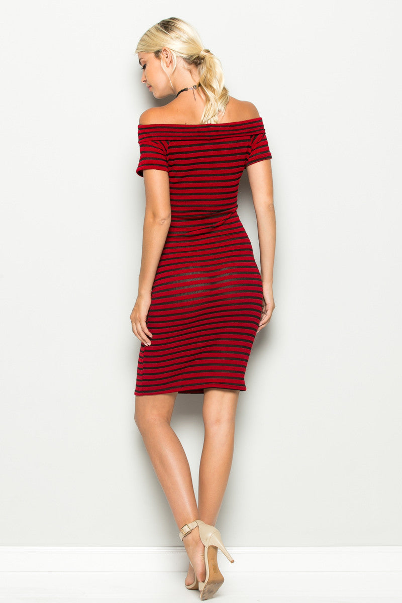 Red Striped Wrap Front Off Shoulder Dress - Dresses - My Yuccie - 4
