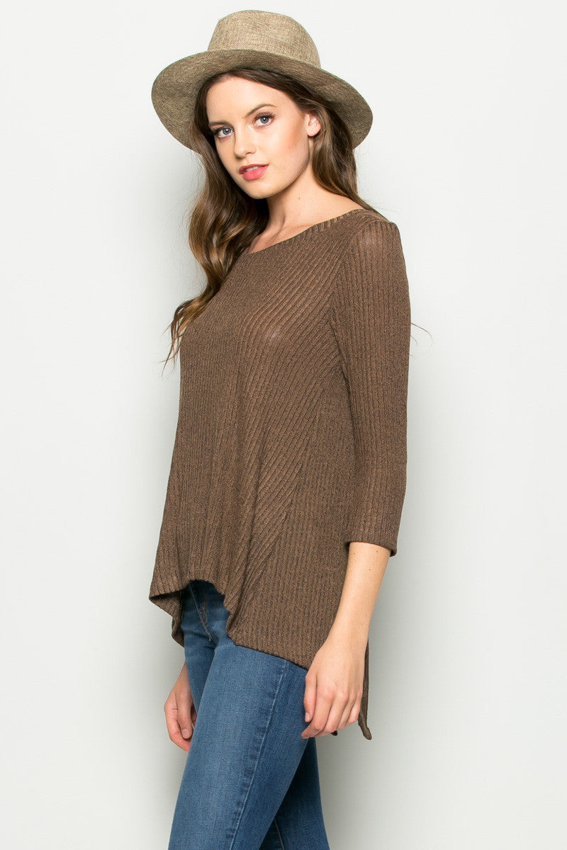 Brown Button Back Knit Sweater Top - Shirts - My Yuccie - 3