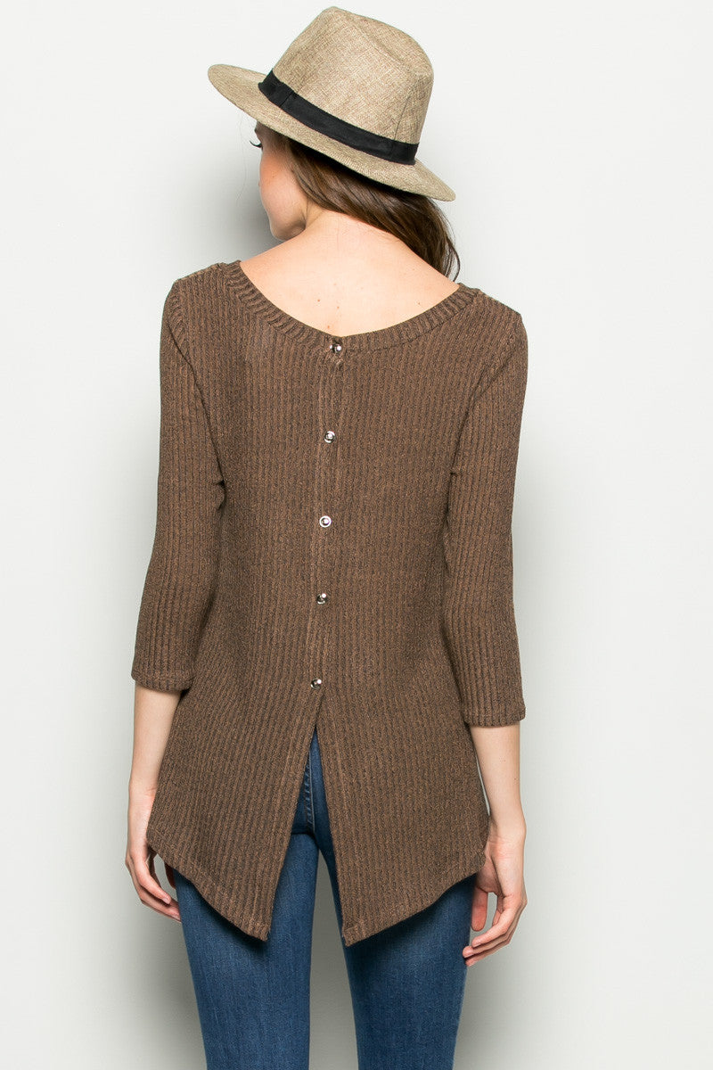 Brown Button Back Knit Sweater Top - Shirts - My Yuccie - 4