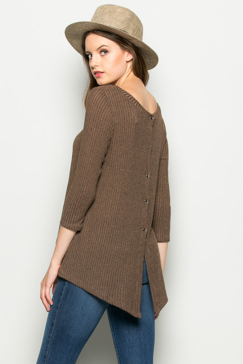 Brown Button Back Knit Sweater Top - Shirts - My Yuccie - 1
