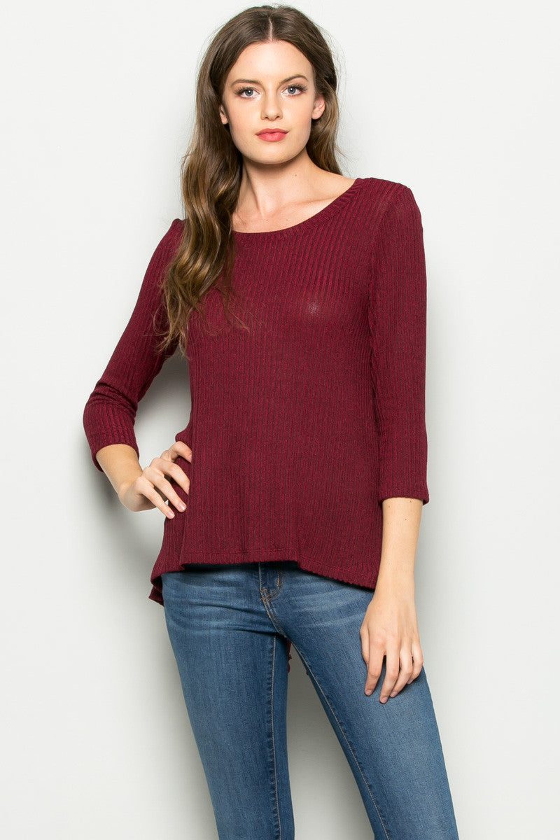 Burgundy Button Back Knit Sweater Top - Shirts - My Yuccie - 2