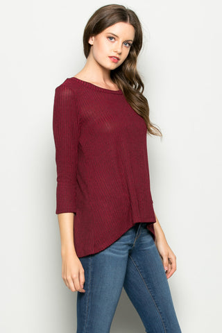 Burgundy Button Back Knit Sweater Top - Shirts - My Yuccie - 1