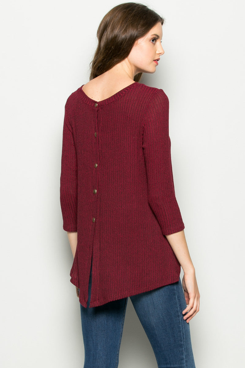 Burgundy Button Back Knit Sweater Top - Shirts - My Yuccie - 3