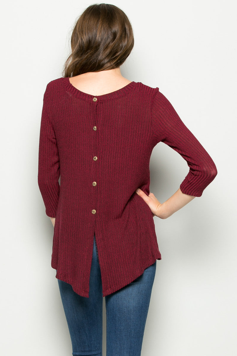 Burgundy Button Back Knit Sweater Top - Shirts - My Yuccie - 4