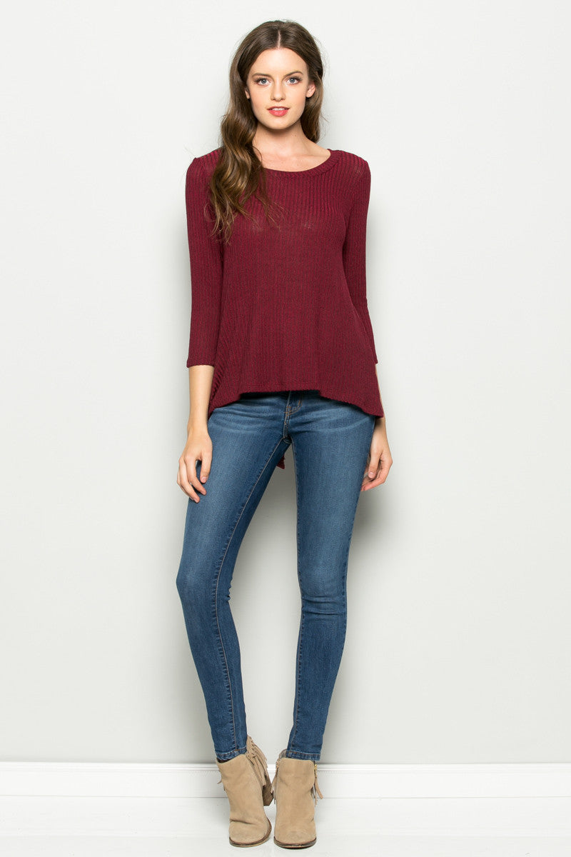 Burgundy Button Back Knit Sweater Top - Shirts - My Yuccie - 5