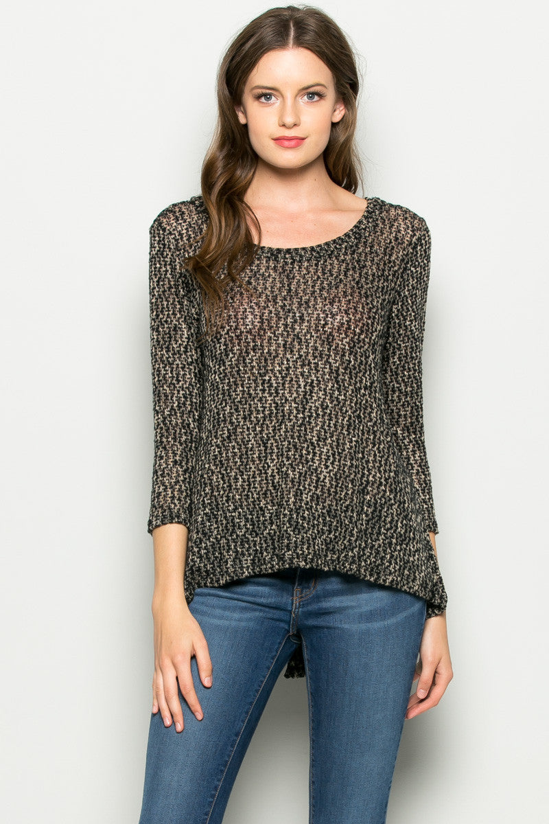 Tan Button Back Knit Sweater Top - Shirts - My Yuccie - 1