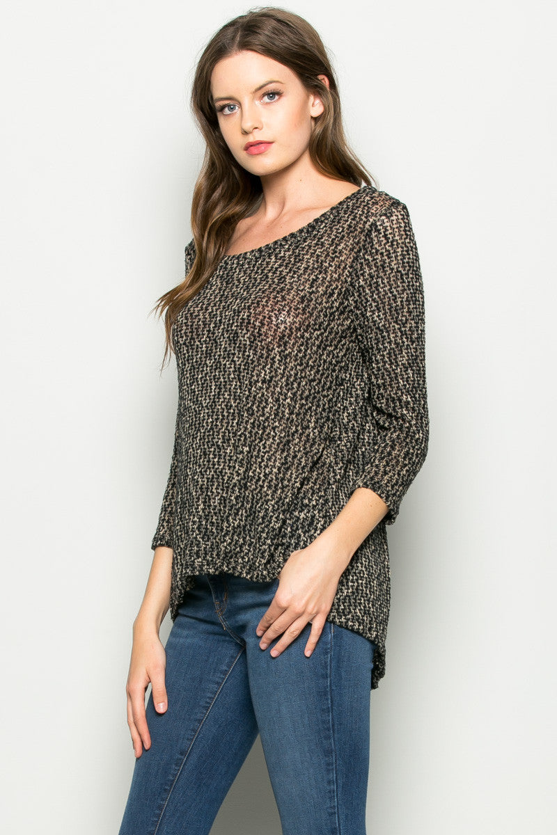 Tan Button Back Knit Sweater Top - Shirts - My Yuccie - 2