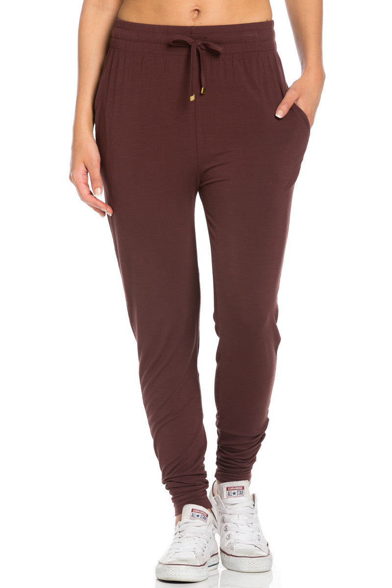 Comfy Drawstring Jogger Pants in Wine - Jogger Pants - My Yuccie - 6