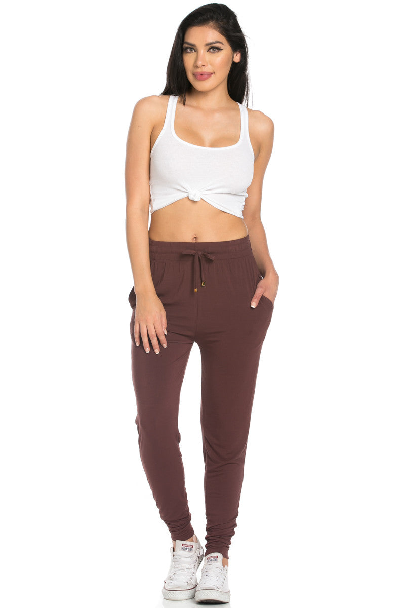 Comfy Drawstring Jogger Pants in Brown - Jogger Pants - My Yuccie - 3