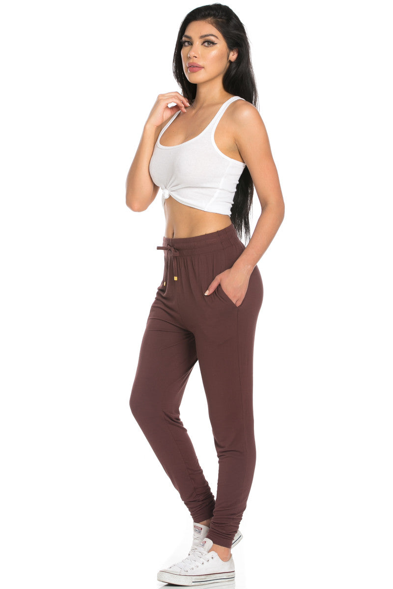 Comfy Drawstring Jogger Pants in Brown - Jogger Pants - My Yuccie - 4