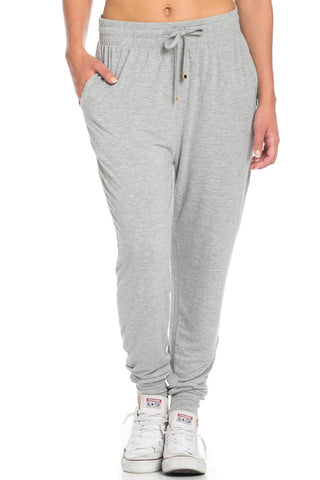 Comfy Drawstring Jogger Pants in Heather Grey - Jogger Pants - My Yuccie - 1