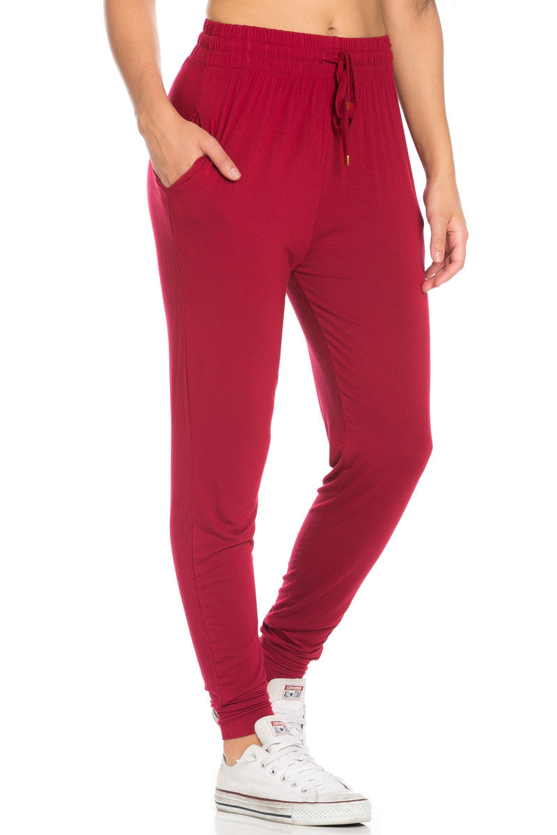 Comfy Drawstring Jogger Pants in Wine - Jogger Pants - My Yuccie - 2