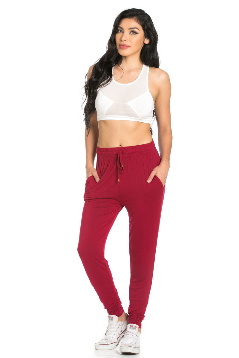 Comfy Drawstring Jogger Pants in Wine - Jogger Pants - My Yuccie - 4